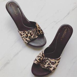 Matisse Size 8 Leopard Buckle Slide Sandals